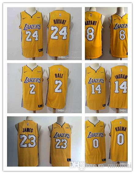 4d5d28332 2019 23 LeBron James Laker Jersey The Citys Los Angeles Kobe 24 Lonzo 2  Ball Kyle 0 Kuzma Brandon 14 Ingram Yellow Ball Jersey NEW Graphic T Shirts  Custom ...