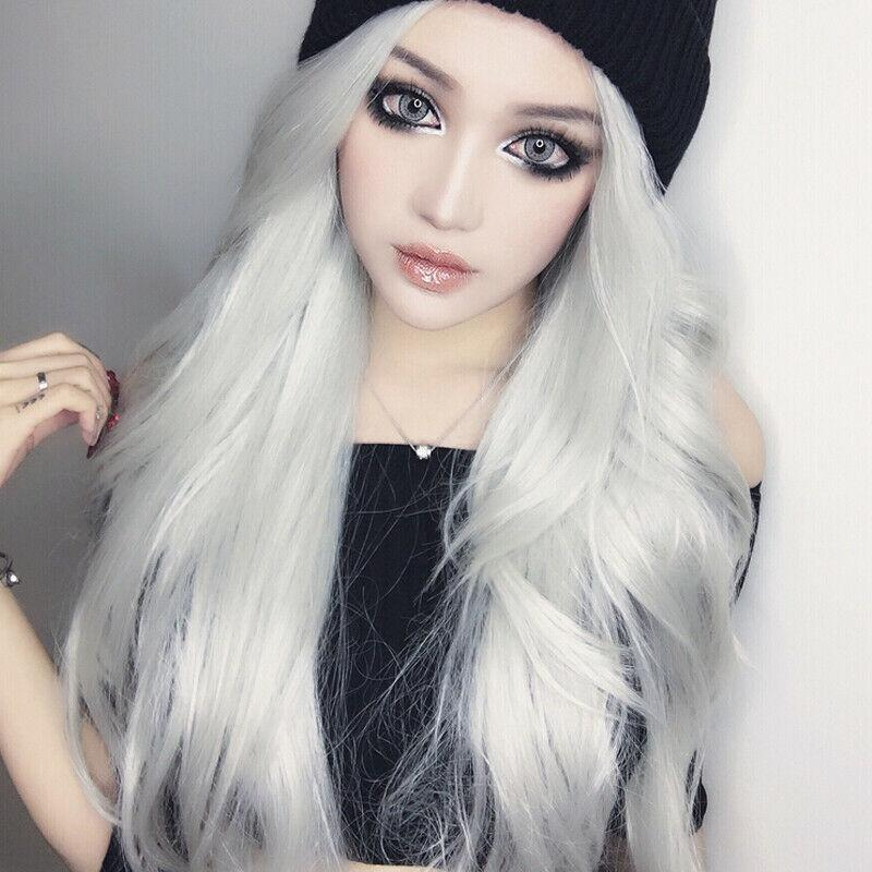 Silver wig synthetic lace front of the dark gray trousers straight female wig 27.6 inches