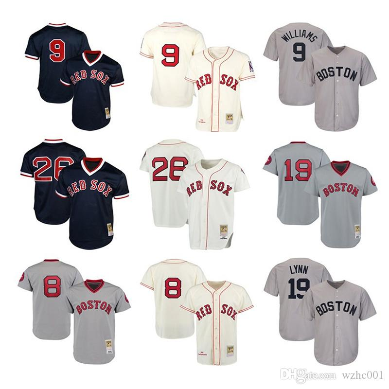 cheap for discount 01cc9 ff2c9 Boston Mens & women & youth kids knit Jersey Red Sox 9 Ted Williams 26 Wade  Boggs 8 Carl Yastrzemski 19 Fred Lynn Throwback Baseball Jerseys