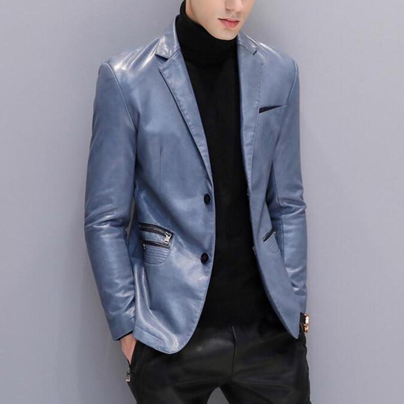 brand new 79418 7ded1 Giacca in pelle da uomo Giacca da giacca nera in blazer da uomo Giacche e  cappotti da uomo Inverno casual formale primavera autunno maschile ...
