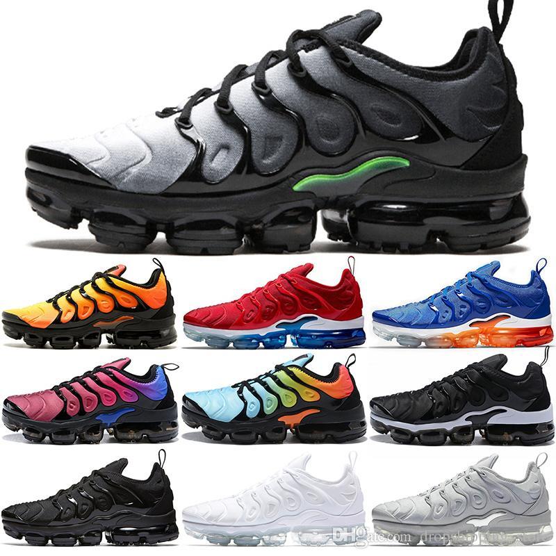 brand new 88b85 1df44 Nike Air Vapormax 2019 Xamropav TN Plus Hombres Mujeres Zapatos para correr  Sunset Triple Negro Blanco Juego Royal Work Blue Athletic Trainer Sport ...