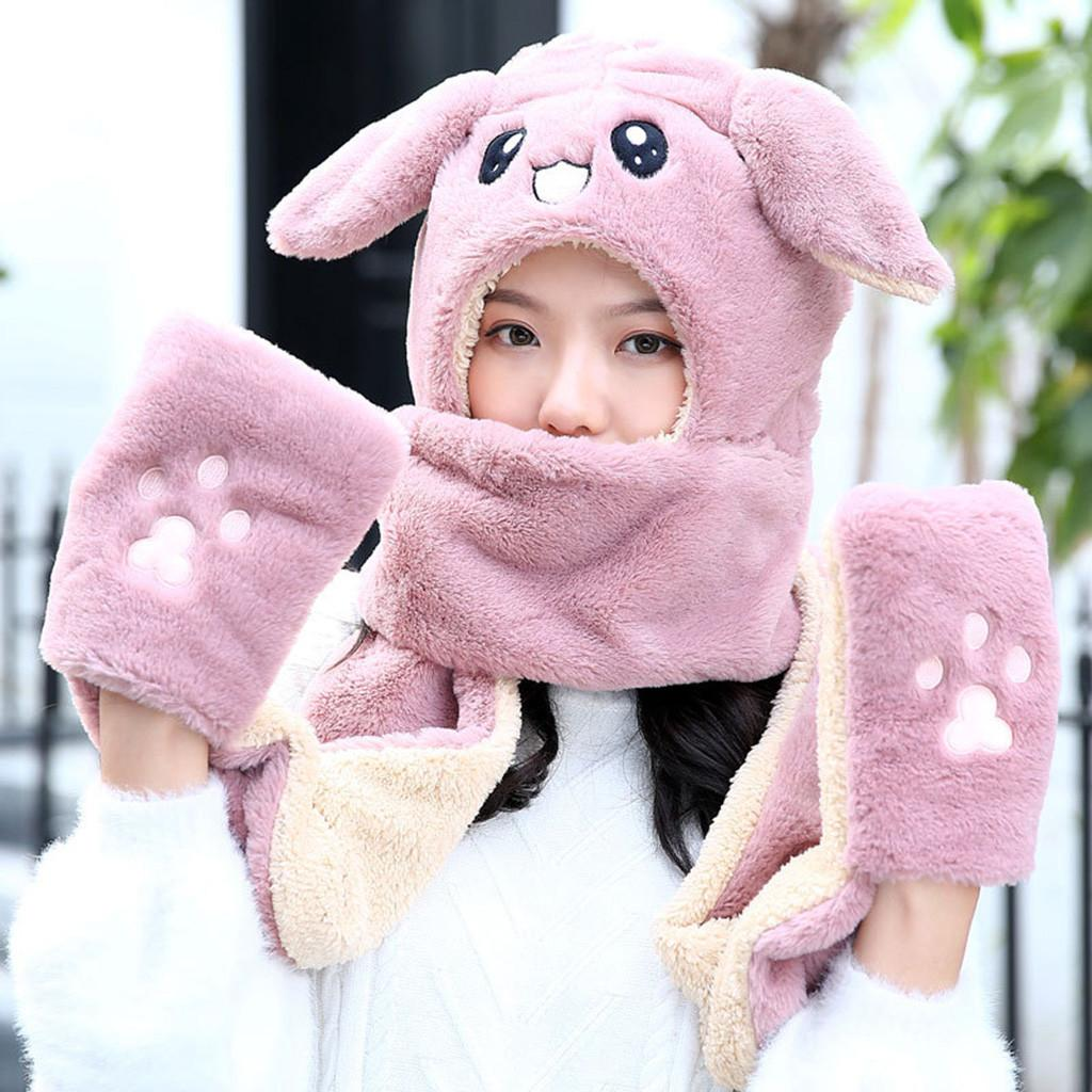 760b17f7cb1cc Ladies Scarf Hat Rabbit Cartoon Warm Fluffy Faux Fur Hood Scarf Hat ...