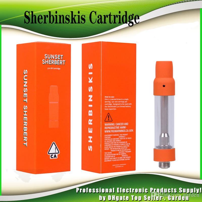 Sherbinskis Cartridge 1 0ml 1Gram Ceramic Coil Empty Vape Carts Thick Oil  Sunset Sherbert Orange Box Packaging For 510 Preheat Battery Hot