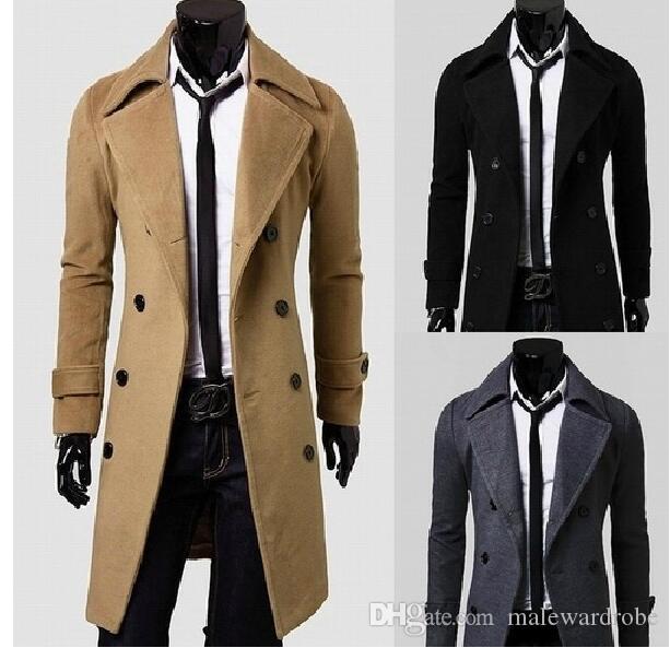 purchase cheap 26354 4f502 Cappotti lunghi da uomo in lana Cappotti doppio Bottoni Designer Trench  solido Abbigliamento