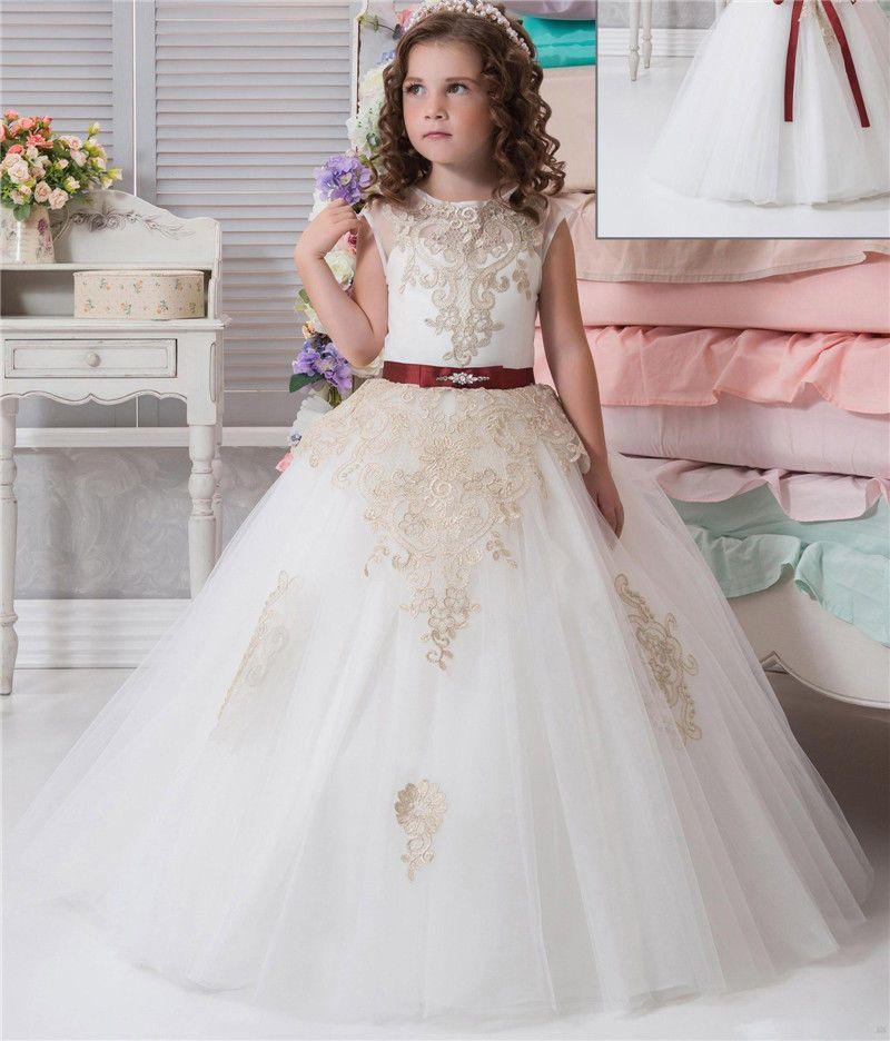cca672b3610 ... Tulle Custom Cute Golden Lace Flower Girl Dress Ball Gown Floor Length  Little Kids Princess Party Birthday Dress Infant Flower Girl Dress Ivory  Chiffon ...