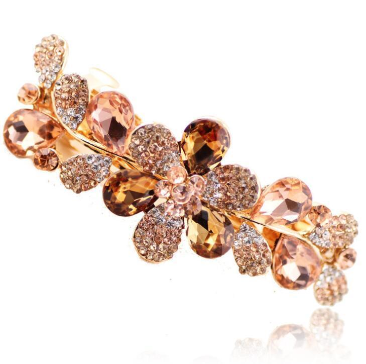 Luxury Crystal Flower Rhinestone Hair Clip Barrette Hairpin Headwear Accessories Jewelry For Woman Girls Wedding 12pcs Free Ship
