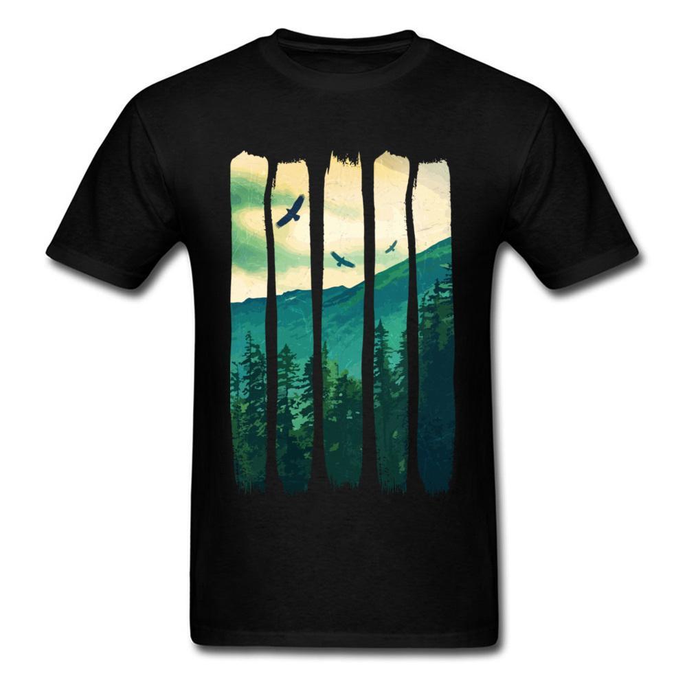 00a6389099914 Printed On Vintage Pines Eagles Mountain Mens T-Shirt Faddish Labor Day  Short Sleeve Crewneck Pure Cotton Tees Clothing Shirt