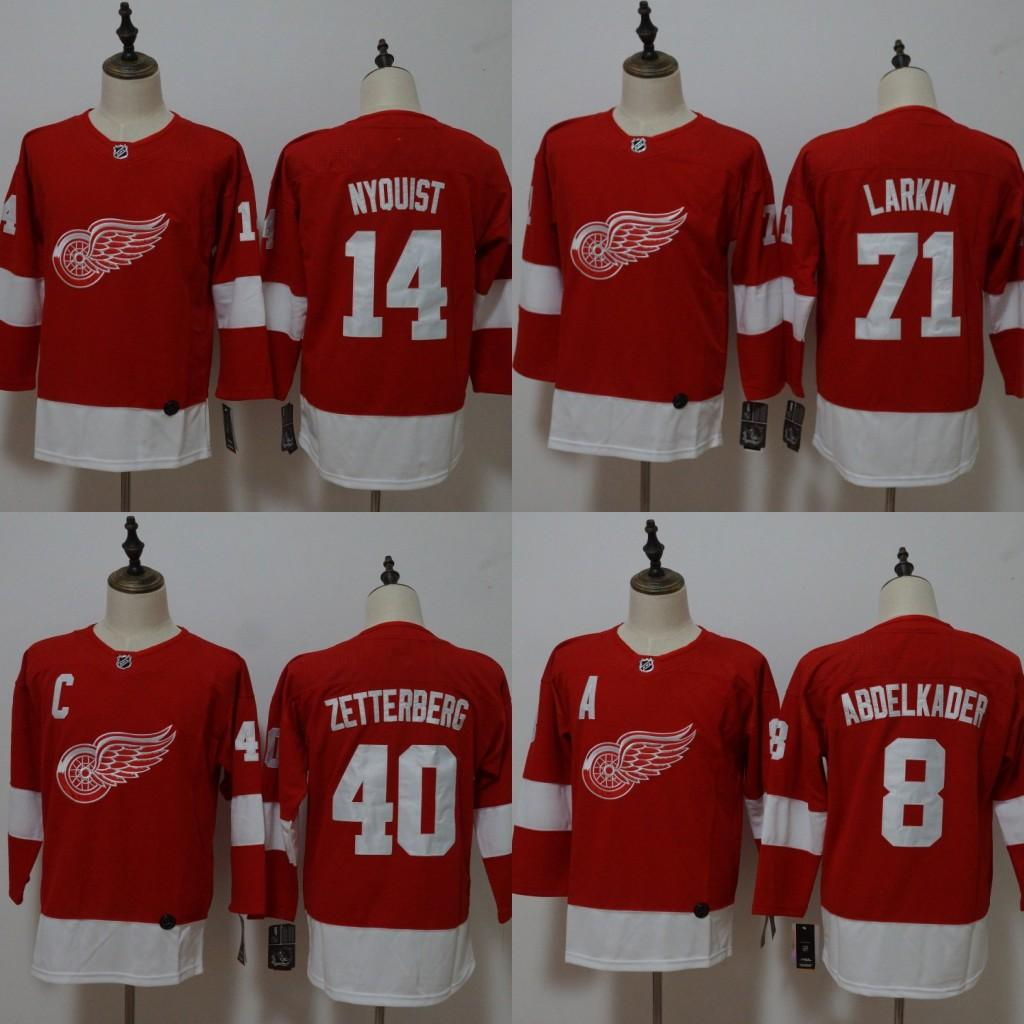 low priced 23137 e2b7f Men Women Youth Detroit Red Wings Jersey 8 Justin Abdelkader 14 Gustav  Nyquist 40 Henrik Zetterberg 71 Dylan Larkin 2018 Hockey Jerseys