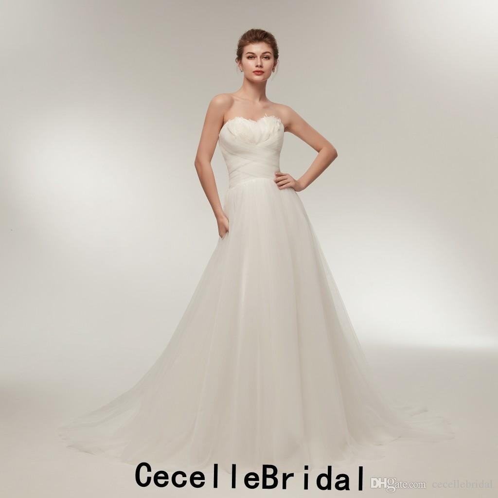 f90fcc66caea Discount Simple A Line Ruched Tulle Informal Wedding Dresses 2019 New  Strapless Feathers Country Rustic Informal Bridal Gown Corset Back Wedding  Dresses ...