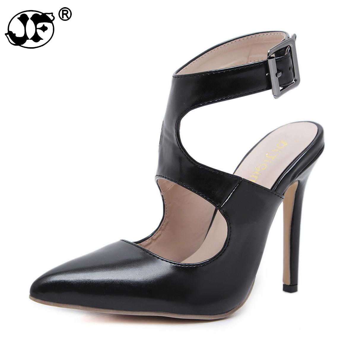 9cea3f407 Dress 2019 New Design Autumn High Heels Pumps Sandals 12.5cm Fashion  Pointed Toe Buckle Strap Gladiator Thin Heel Woman Shoes Jkm09 Brown Shoes  Strappy ...