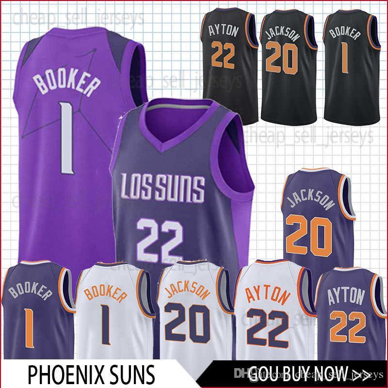 10e39f7f3a10 2019 Men Jersey 22 Ayton 20 Jackson 1 Booker Basketball Jersey Phoenix City  Suns Men Fans Clothes Printed From Cheap sell jerseys