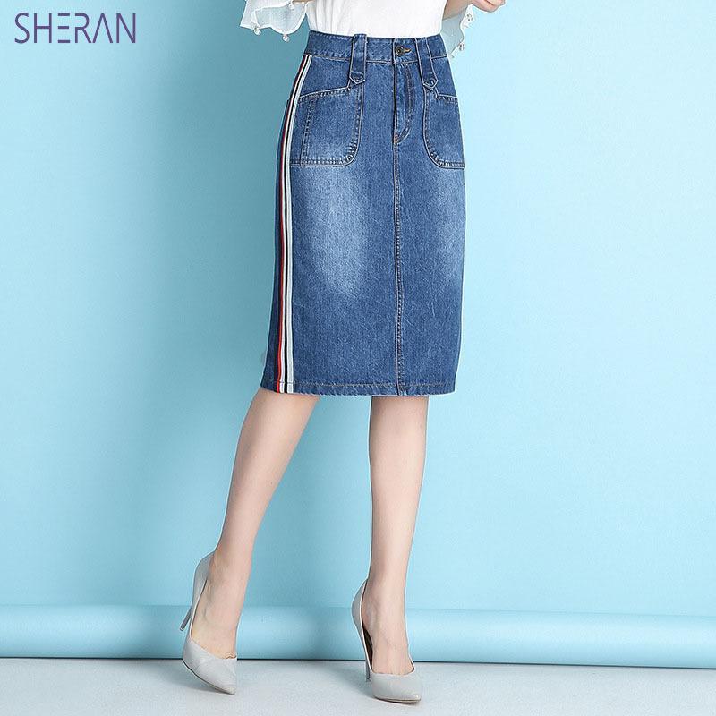 f5668469a Sheran 2018 Mujeres Verano Faldas de Mezclilla de Moda de Cintura Alta  Tallas grandes Bolsa Hip Jeans Falda de Alta Calidad Azul Faldas Sexy  Bottoms ...