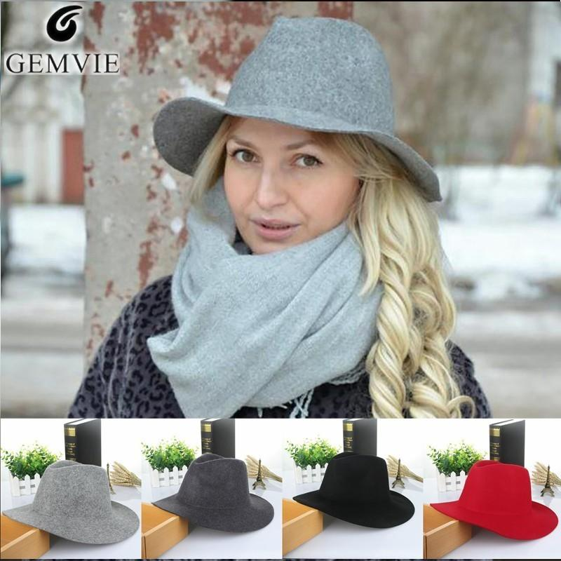 d0660998 Women'S Hats Cap Wool Fedoras Lady Solid Large Wide Brim Felt Hat Vintage  Cashmere Soft Hat Floppy Wool Cap Sombrero De Mujer D19011102 Summer Hats  For ...