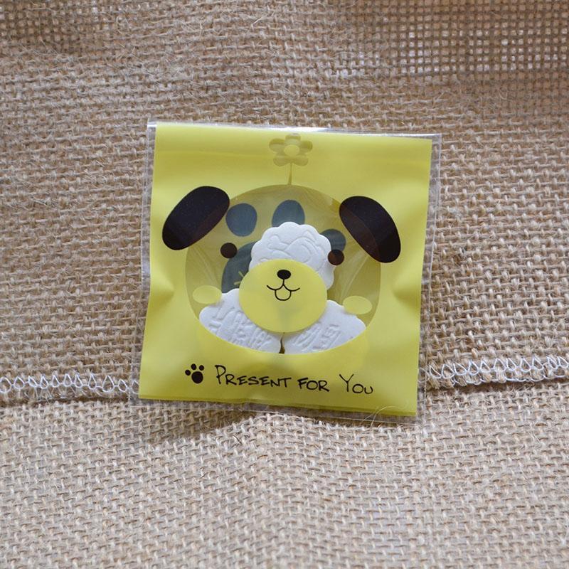 50 / 100P Mignon Dessin Animé Ours Chat Chien Petit Auto-adhésif Sachets En Plastique pour la Fête De Mariage Cadeaux Bonbons Biscuits Emballage Sac Pochette
