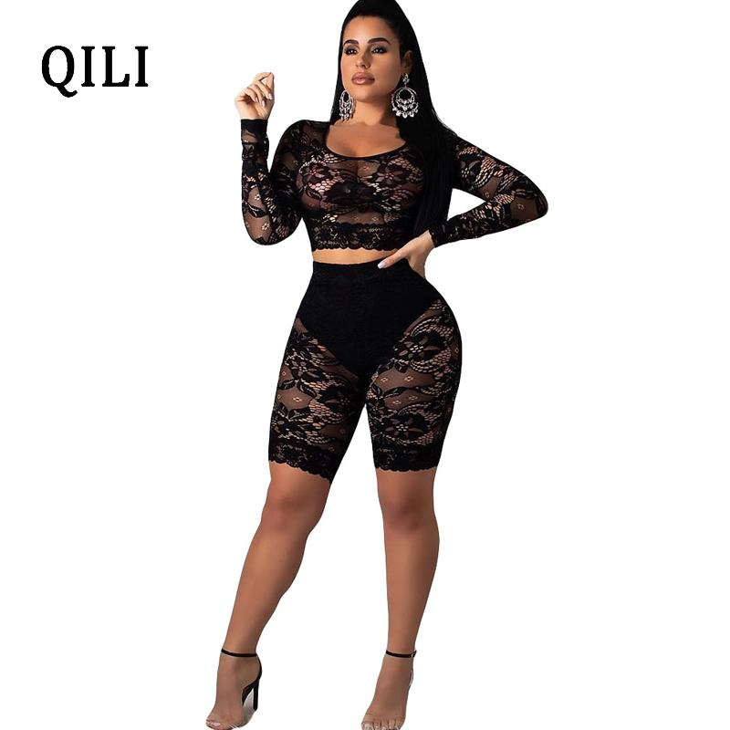 e14f591b88a 2019 QILI Sexy See Through Lace Jumpsuit Rompers Women Long Sleeve Rompers  Playsuits Nightclub Wear Top+Pants White Black From Layercuff