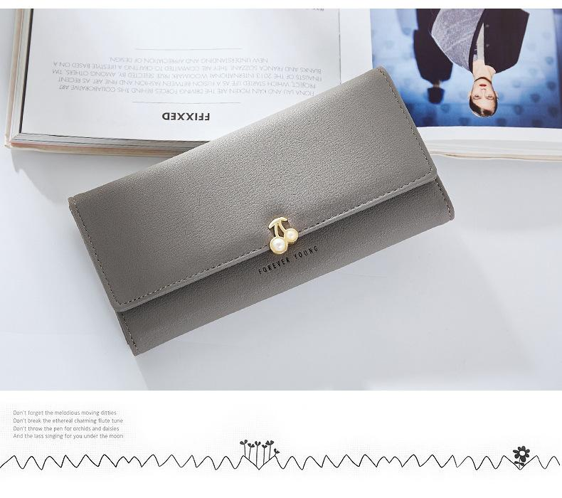 WEICHEN Fashion Fruit Pattern Women Wallets Pearl Leather Long Wallet Female Brand Card Holder Ladies Purse Carteira Hot