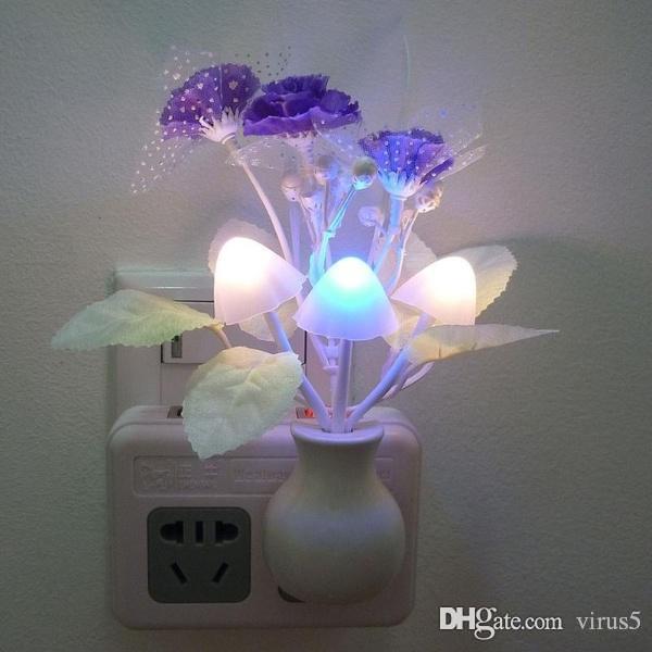 Sensation Led Chevetveilleuse Intelligente De Veilleuse Décor Lampe Light Champignon Fleurs Chambre L5R4Aj