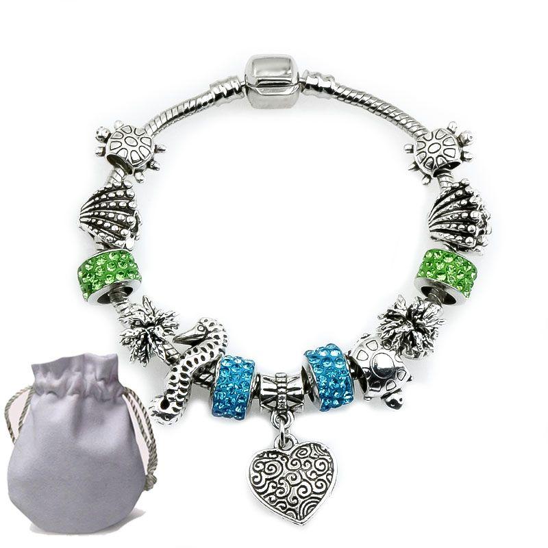 d51279a75225 Compre Nuevo 2019 Plateado Charms Pulseras Fit Pandora Mujeres Brazalete  Azul Verde Cristal De Murano Granos De Cristal Tallado Corazón Colgante  Joyería ...