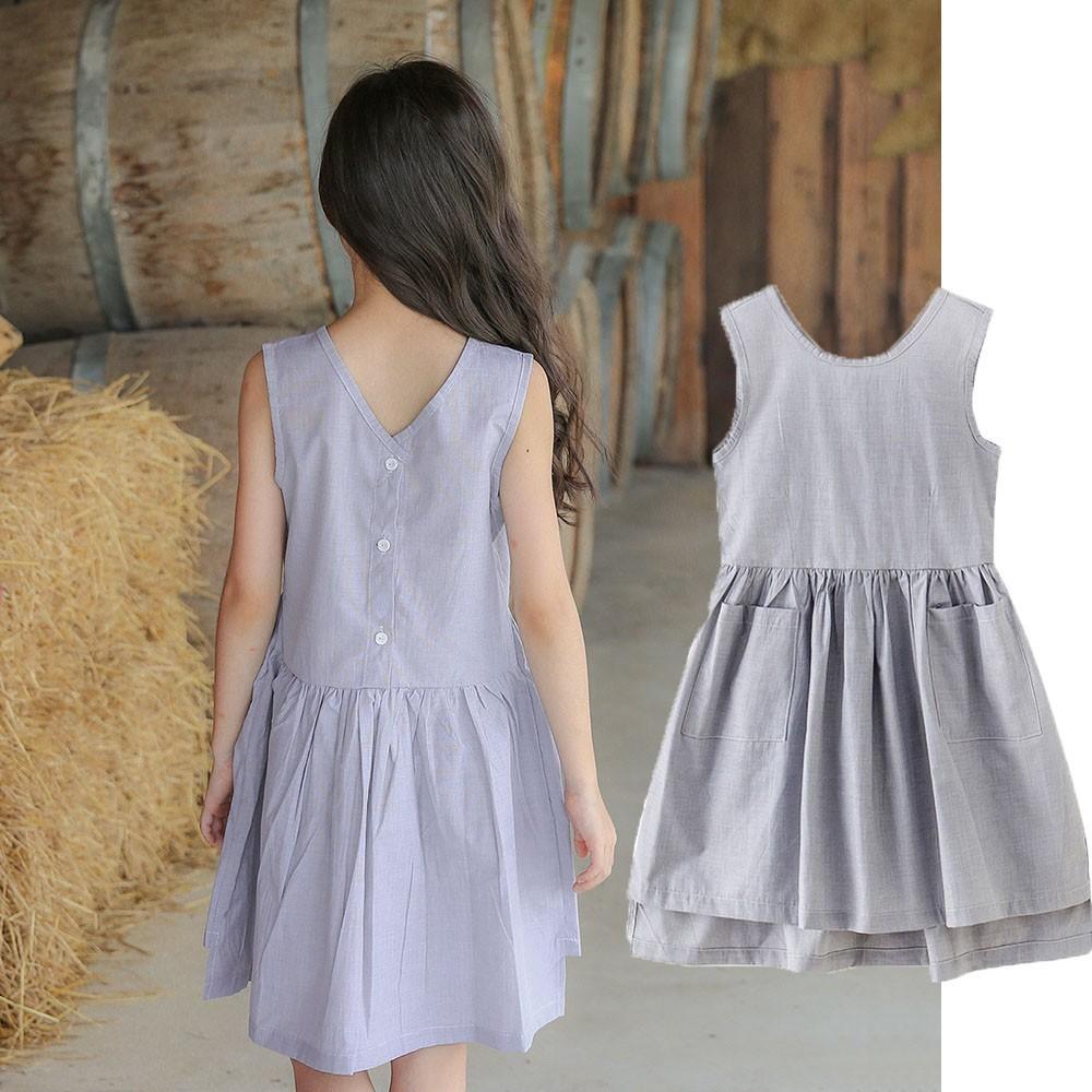 408495dd8931a3 Großhandel Baumwolltaschen Und Kleider Für Die Mädchen Baby Kind Kleid  Prinzessin Kleid Grau Sommer Mädchen Sommerkleidung, Kinderbekleidung, ...