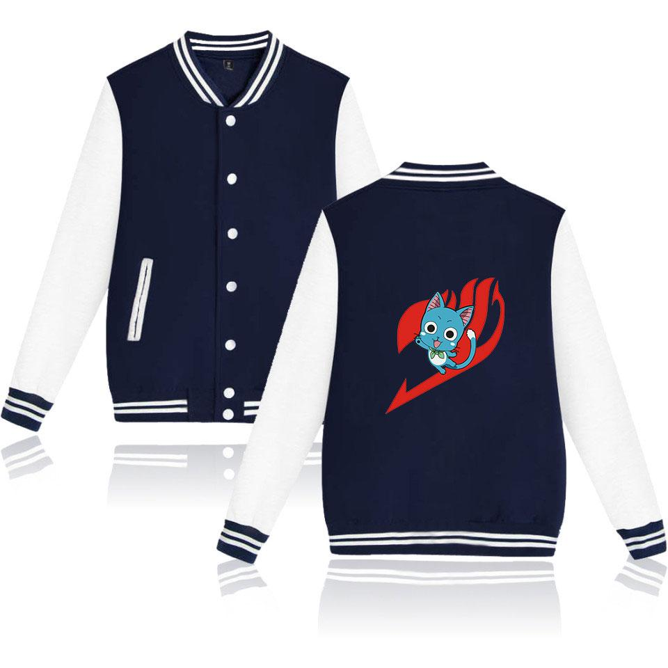 Youth baseball uniform jacket anime FAIRY TAIL baseball jacket men's and women's sweatshirt O-neck loose
