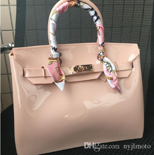 5b25e15a58 JELLYOOY 30cm Large Size Women Plastic Jelly Handbags Designer Girls  Fashion Candy Color Shoulder Bags Waterproof PVC Beach Bags Leather Goods  Branded Bags ...