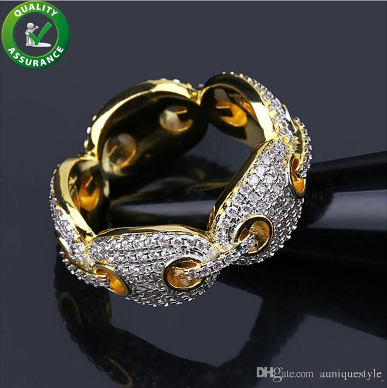 4b6329287 2019 Mens Rings Hip Hop Jewelry Iced Out Diamond Ring Luxury Designer Micro  Pave CZ Gold Plated Engagement Cuban Link Ring For Love Bling Wedding From  ...