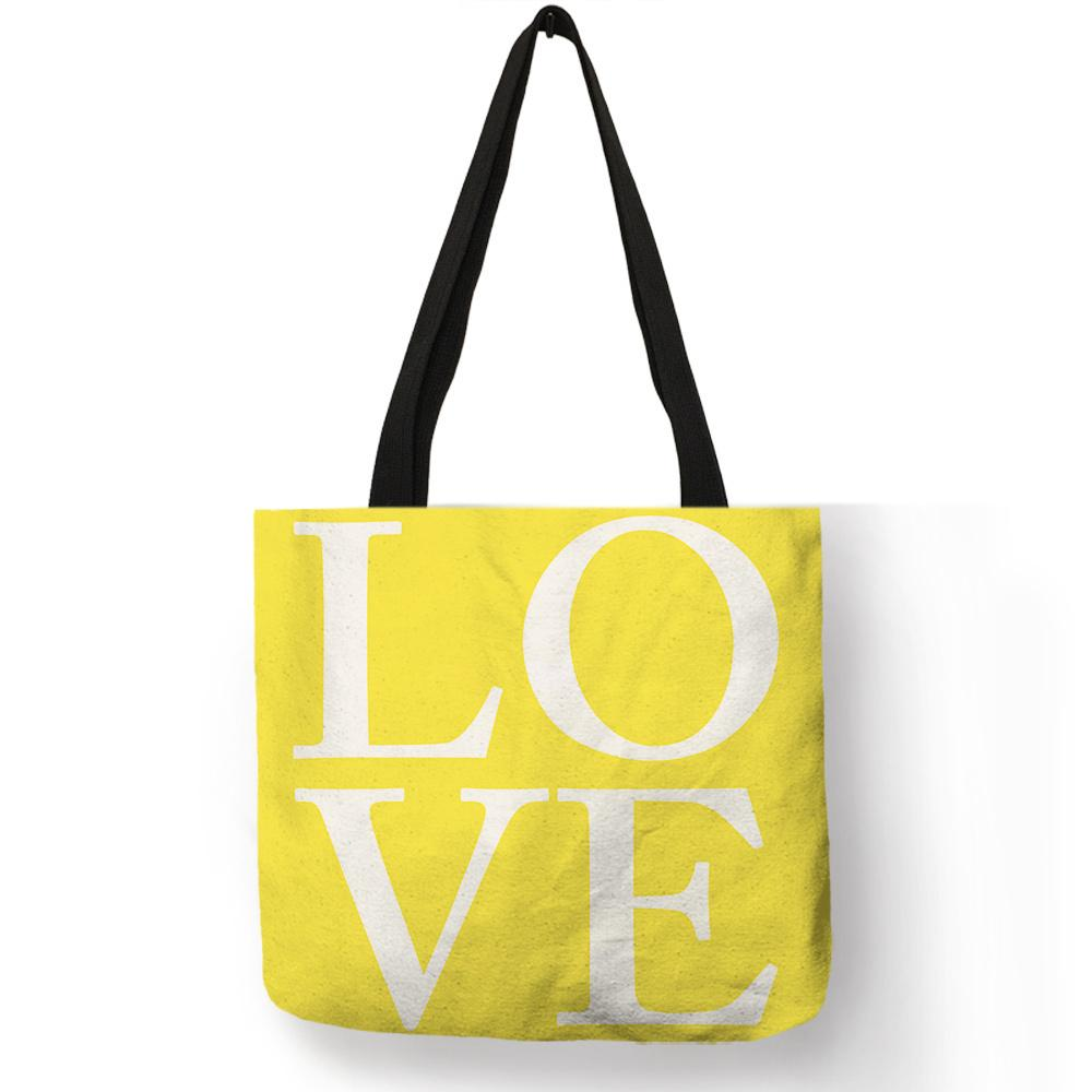 4034eaab9b79 Women Girls Casual Shopping Carry Tote Bag Lemon Yellow Color Letter Heart  Diamond Print Shoulder Bag Travel Beach Accessories Backpack Purse Bags For  Men ...