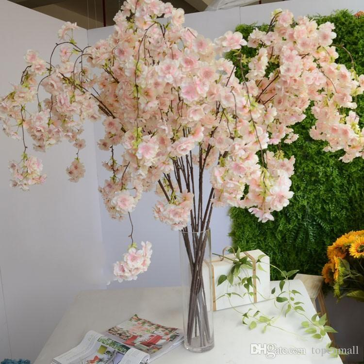 136CM 54inch Romantic Artificial Hanging Branches of Peach Cherry Blossom Vine Silk Flowers Home Wedding Decoration Flower bouquet