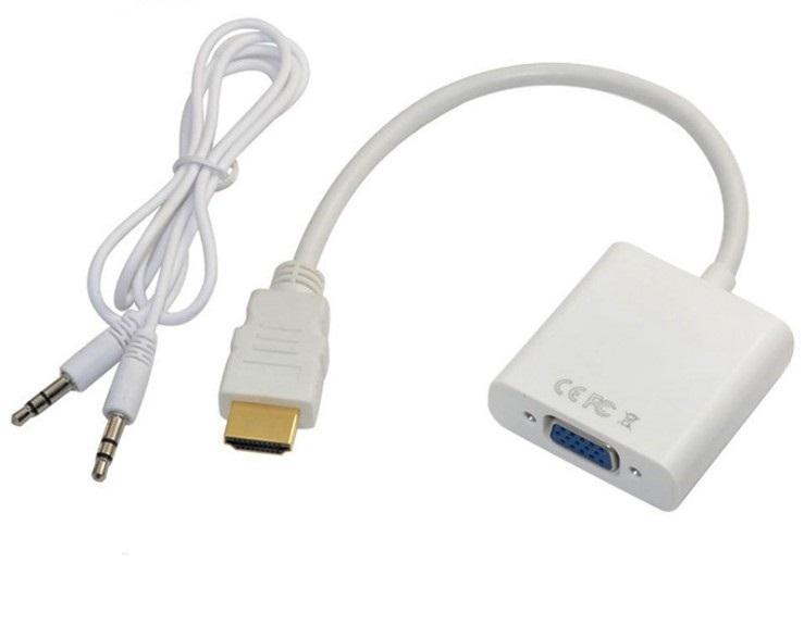 Cable de datos HDMI a VGA con cable de audio Adaptador convertidor de video 1080P Audio digital a analógico para PC Laptop Tablet Projector MQ200