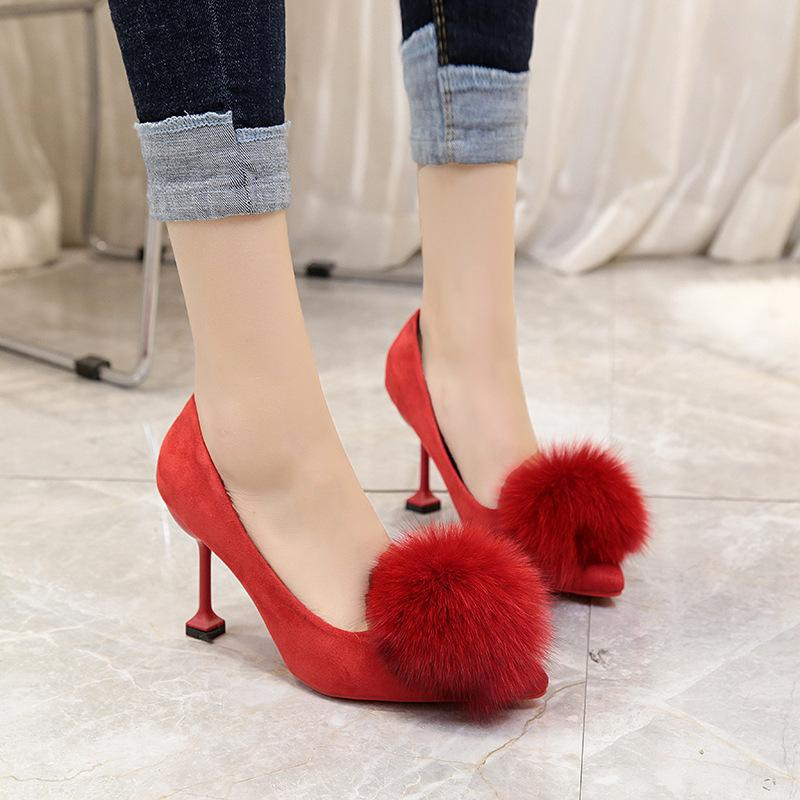 Dress Shoes Spring New Pointed High-heeled With Shallow Mouth Fur Single Female Suede Plush Wedding Red