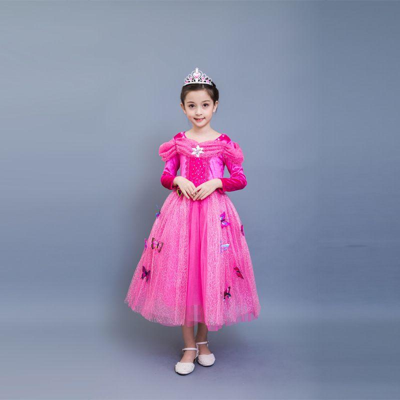 7e2b9e6043 Compre Vestidos De Los Niños Princesa Cenicienta Fiesta De Bolas De Lujo  Desgaste Chica Belleza Halloween Traje De Navidad Manga Larga Azul Rosa  Niñas ...