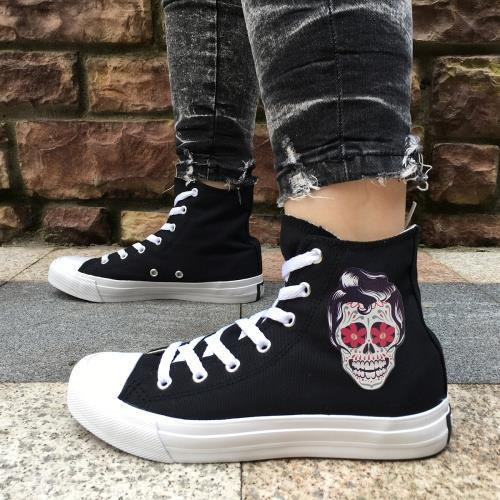255606910460 US3.5 11 Wen Original Design Skull Series Shoes Tattoo Totem Red Rose  Flower Women Men S Casual Canvas Sneakers High Tops Canvas Shoes A002 Shoe  Sale Shoes ...
