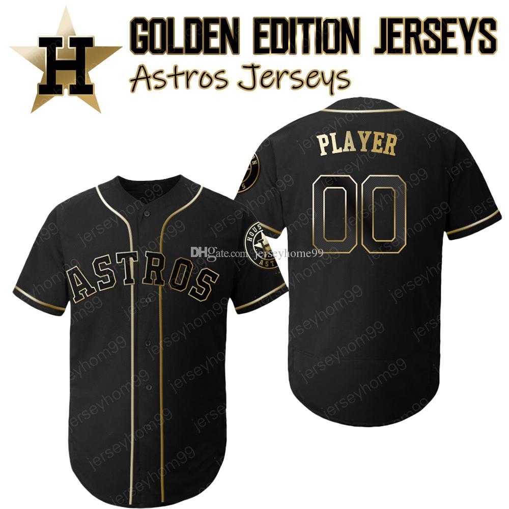 low priced f4d98 aaf55 Custom Astros Golden Edition jerseys Alex Bregman Jersey Carlos Correa  Springer Altuve Verlander Ryan Bagwell Biggio Gurriel Brantley
