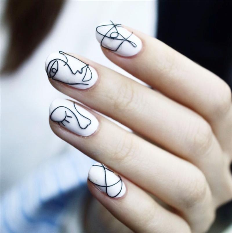 Ins Style Abstract Art False Nails White Pre Design Short Round Head