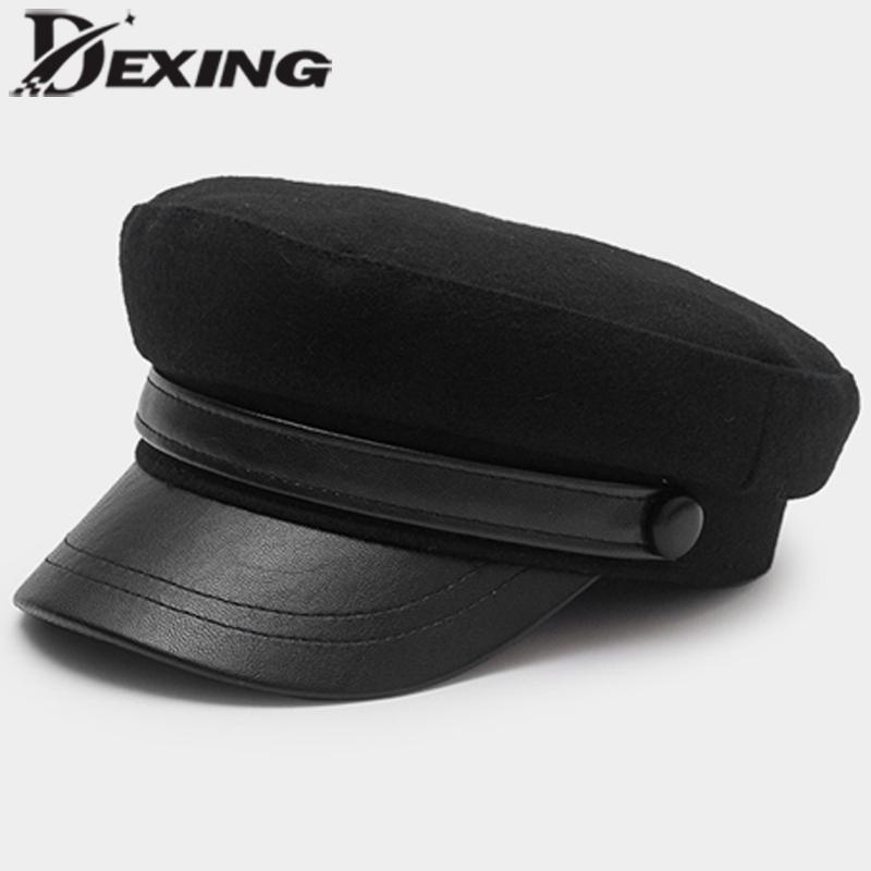a4cd5572a86 2019 Ins 2018 Trendy PU Leather Black Wool Beret Women Vintage French Hat  Sailor Cap High Quality From Bestqueen