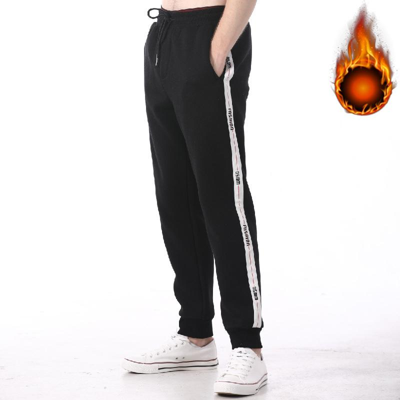 New Fashion 2019 New Arrival Winter Solid Color Elastic Waist Fleece Thick Trousers Men Warm Straight Pants Wide Leg Pant Fitness Streetwear Casual Pants