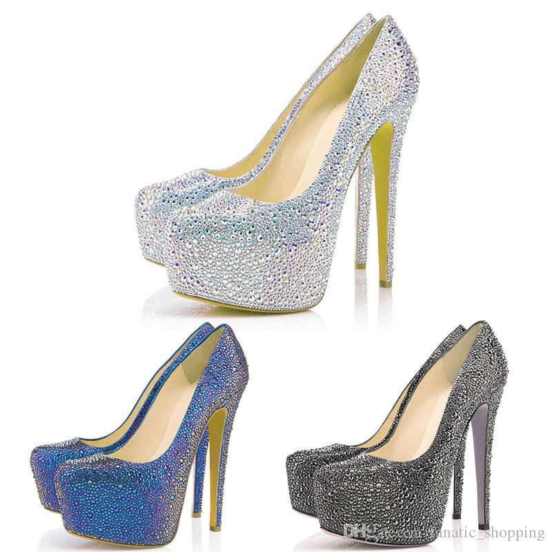 58e0f3f9b79 New Designer Pumps Red Rottoms Wedding Shoes Glitter Rhinestone 16CM High  Heels Crystal Platform Party Dress Shoes 35 42 Deck Shoes Boat Shoes For  Men From ...