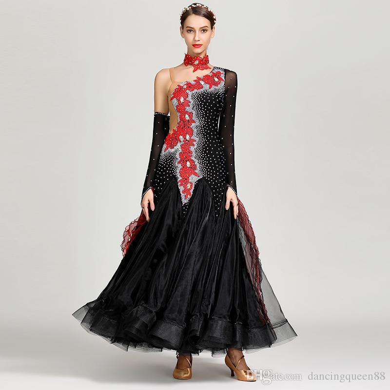 34a5e48c4b959 2019 2019 Dancewear Black Standard Ballroom Dress Woman Ballroom Dance  Competition Dresses Dancing Clothes Woman Modern Dance Costume Waltz Dress  From ...