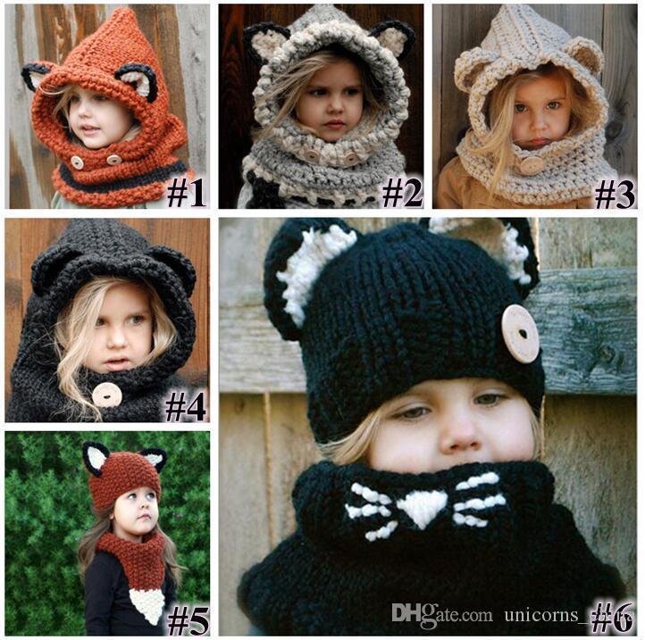 e256607a9dc Girls Hats Scarf Cat Fox Ear Baby Knitted Winter Kids Boys Girls ...