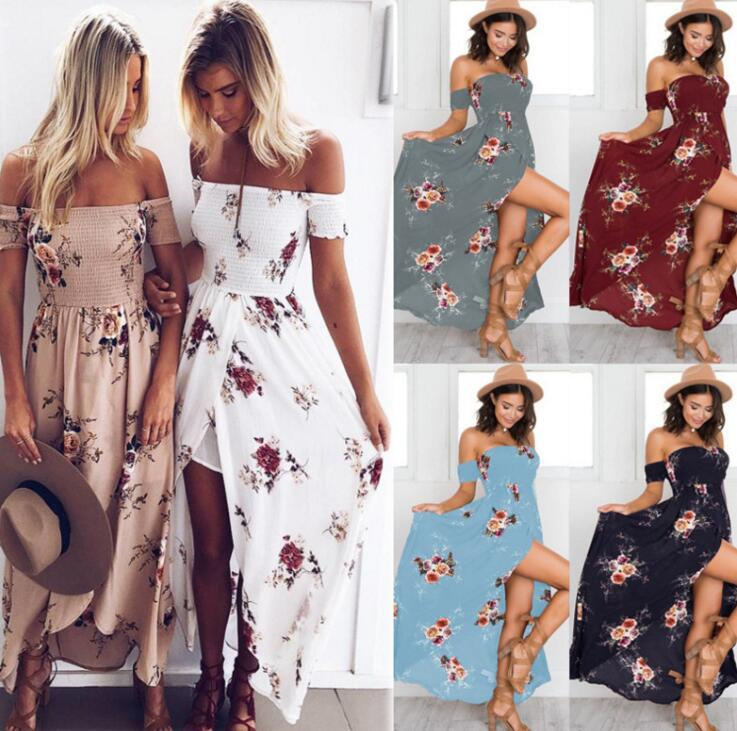 fed3bab57a8 2019 Off Shoulder Floral Boho Dress Women Summer Beach Party Maxi Dress  Floral Print Chiffon Long Maternity Dresses OOA6510 From B2b life