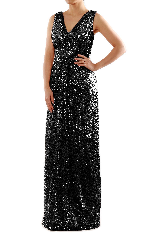 52ff687b199 MACloth Long Maxi Floor Length Sleeveless V Neck Pleated Sequin Wedding  Party Bridesmaid Dress Formal Evening Gown 160101 Long Bridesmaid Dress  Made of ...
