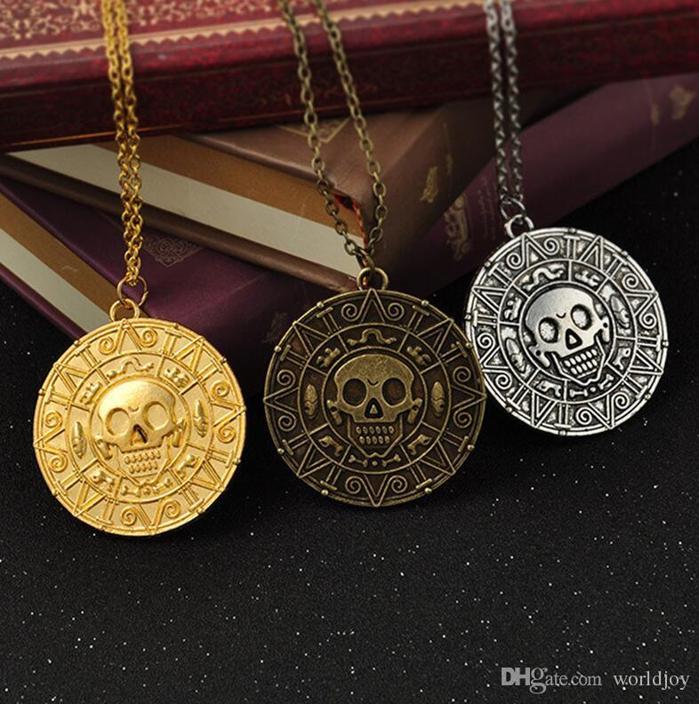 2019 Vintage Bronze Gold Coin Pirate Charms Aztec Coin Necklace Men's Movie Pendant Necklaces for Lady Xmas Gift Fashion Jewelry 100pcs