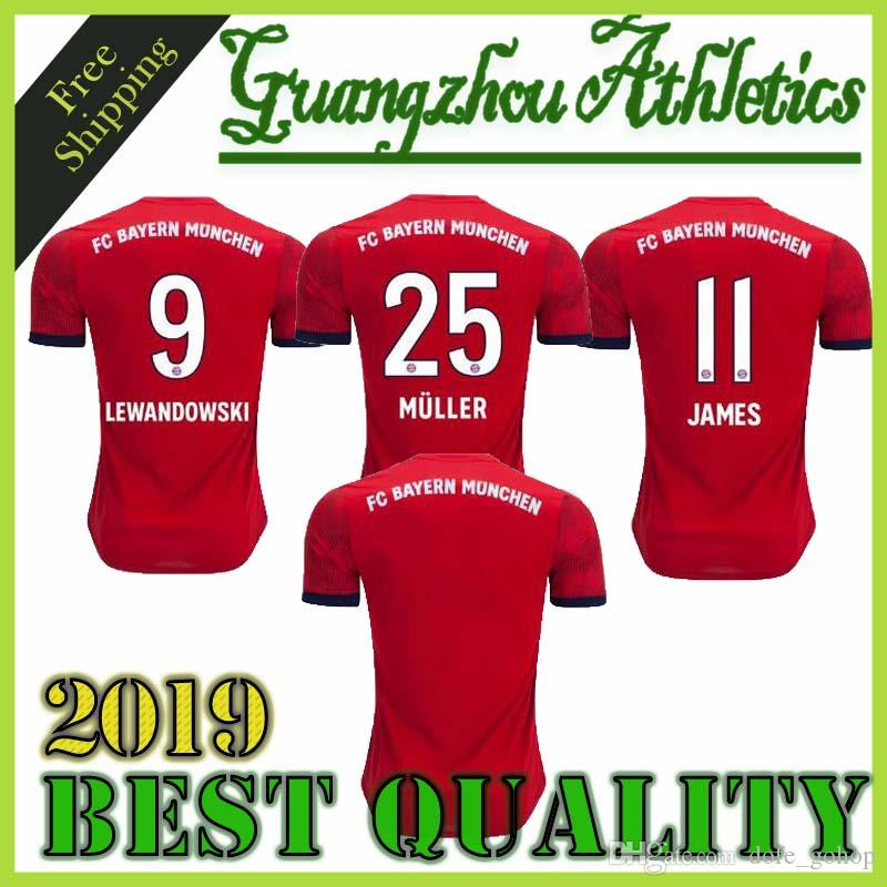 new product 1f1f0 16c00 Player Version 2019 #25 MULLER Bayern Munich home Soccer Jersey 18/19 Home  Red Soccer Shirt #11 JAMES #9 LEWANDOWSKI Football Uniform