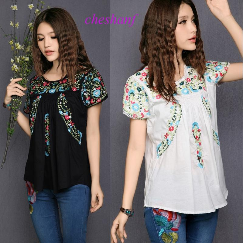 0c8cfad4cd 2019 Hot Sale Free Shipping Vintage 70s Scallop Mexican Boho Ethnic Floral  Embroidered Hippie Blouses Shorts Women Tops Free Sz Y19043001