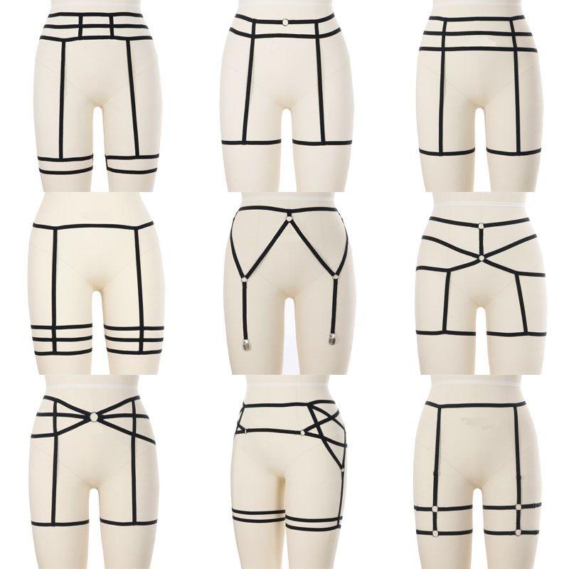 1c9a395b5de 2019 Women Sexy Leg Harness Garter Belt Elastic Cage Body Hollow Leg Garter  Belt Gothic Suspender Strap Underwear Strap Garte From Fried