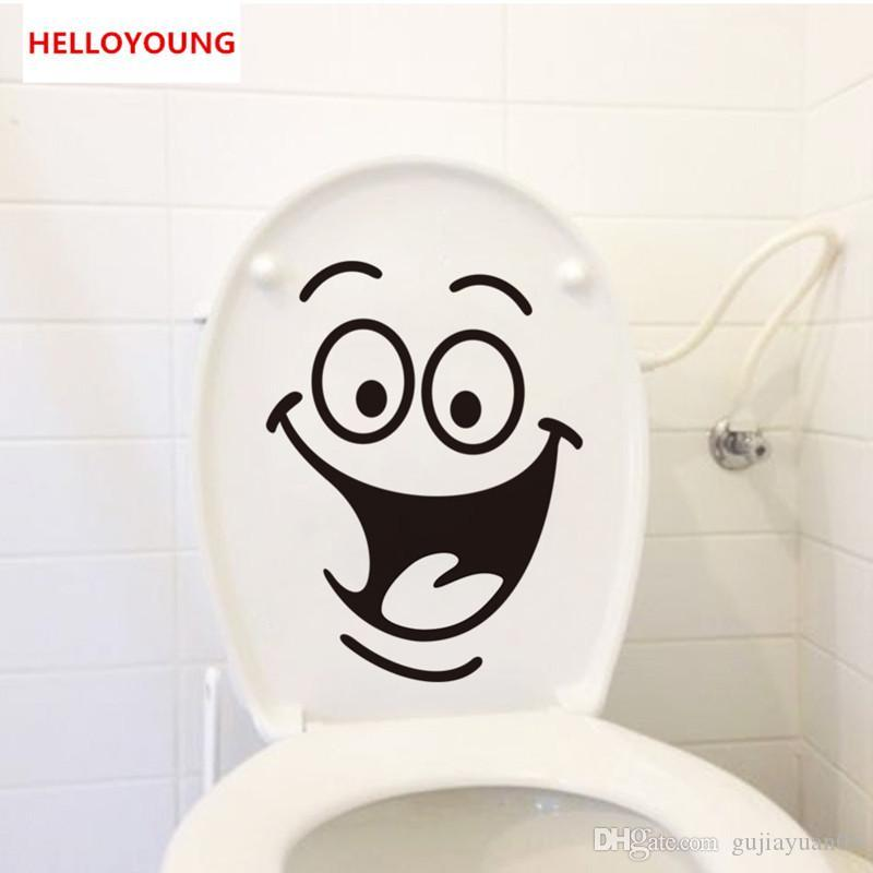 Cartoon Smile Toilet Stickers Wallpapers All-match Style Art Mural Waterproof For toilet Home Decor Backdrop Removable