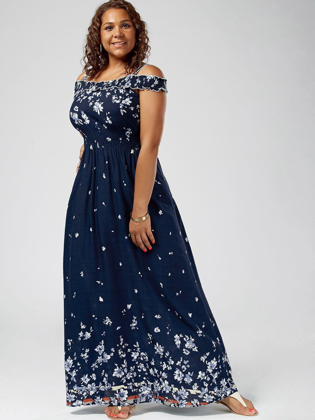 6b472b1a01b 2019 Wipalo Women Empire Waist Maxi Dresses Plus Size Floral Print Cold  Shoulder Long Dresses Bohemian Female Short Sleeves Vestidos Y190425 From  Jinmei02