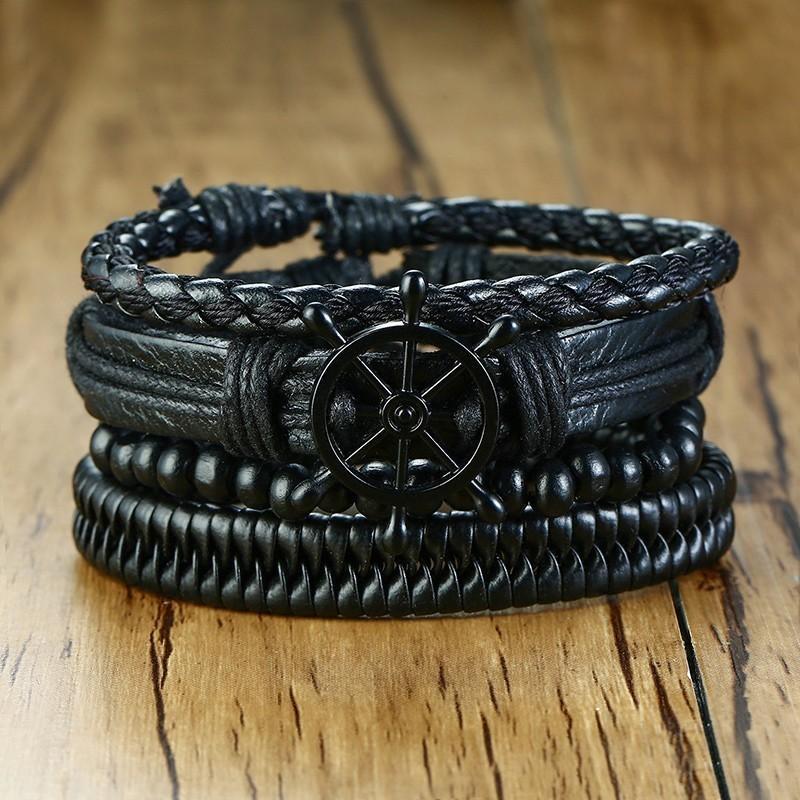 c9e3a9025 Vnox Mix   Set Braided Wrap Leather Bracelets for Men Women Vintage ...