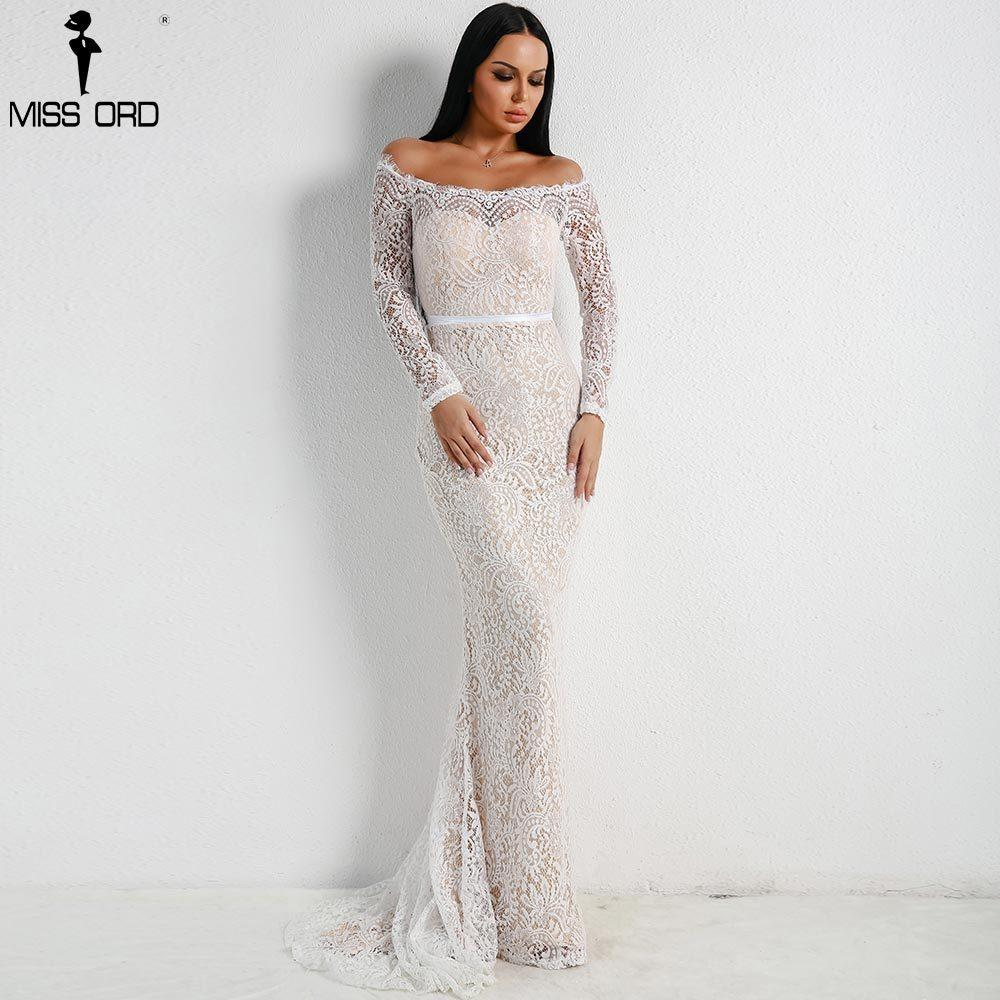 6d94e1a0356 Compre Missord 2019 Mujeres Sexy Fuera Del Hombro Vestidos De Encaje Mujer  Sin Espalda Maxi Elegante Vestido De Fiesta Vestdios Ft18306 Y19012201 A   56.29 ...