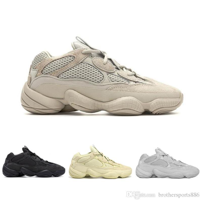 5729843527af4 2019 Desert Rat 500 Salt EE7287 Running Shoes Mens Womens Utility Black  F36640 Blush DB2908 Super Moon Yellow Kanye West Designer Sneakers 36 46  From ...